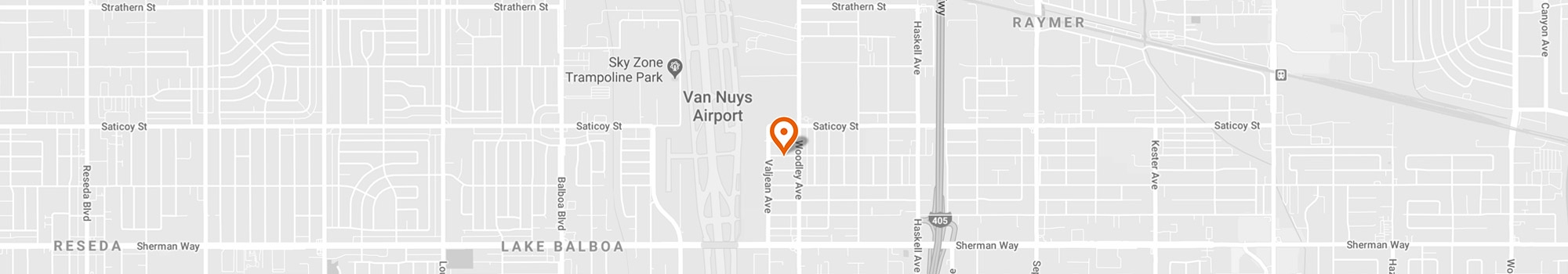 map showing location of Valley Guard Training facility in Van Nuys, California