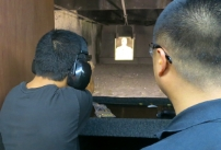 photo of guard practicing at the target range